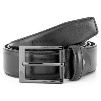 Basic Gunmetal Buckle Black Leather Belt