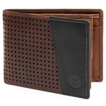 Montreal Dotty Tan & Black RFID Leather Wallet