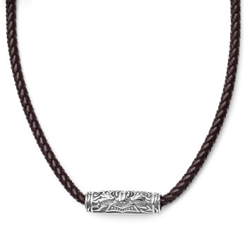 Collana con rune incise e cordino in pelle marrone