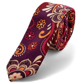 Corbata de lino con estampado rojo