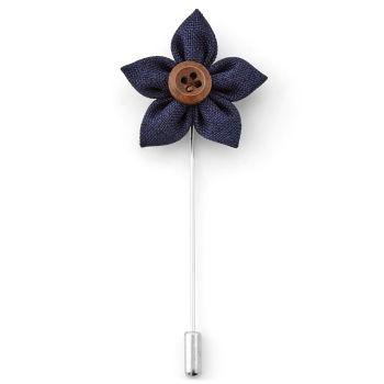 Flor de Lapela Azul Marinho com Botão