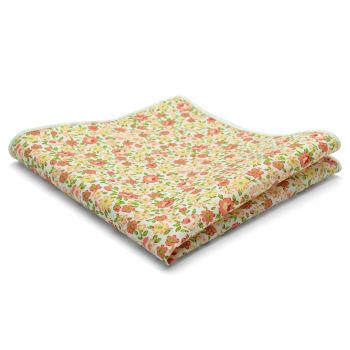 Pañuelo de bolsillo de algodón con flores naranjas