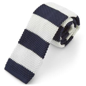 Corbata de punto azul marino a rayas