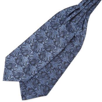 Laivastonsininen & sininen kasmirkuvioinen polyesteri ascot-solmio