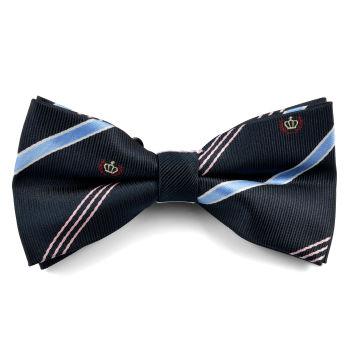 Pajarita azul oscuro a rayas con emblema