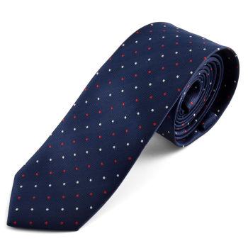 Cravate bleu foncé avec pois