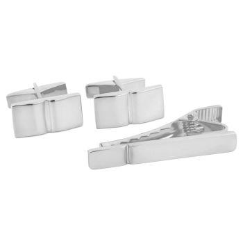 925 Zilveren Set met Korte Dasspeld en Design met Enkele Groef