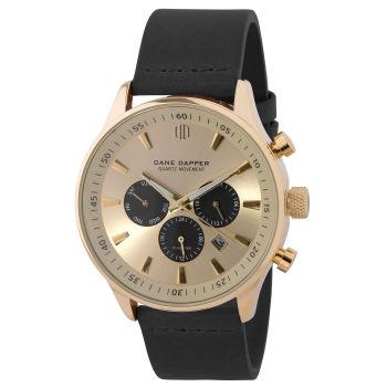 Gold-Tone & Black Subdials Troika Watch