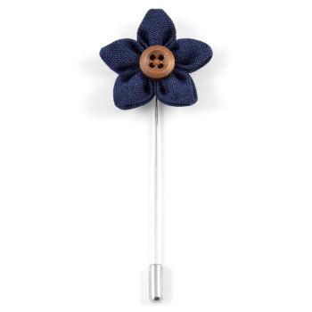 Alfiler de solapa con flor azul