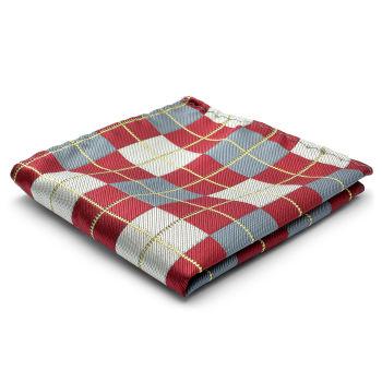 Pañuelo de bolsillo de seda a cuadros
