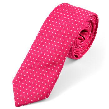 Corbata en algodón rosa de lunares