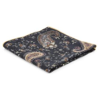 Pañuelo de bolsillo algodón negro con estampado cachemira