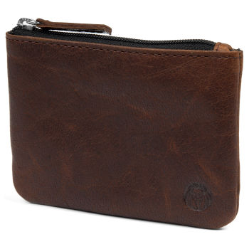 Montreal Zipped Tan RFID Leather Pouch