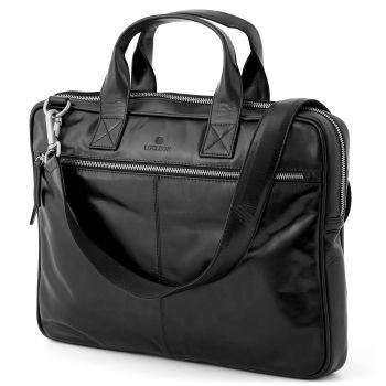 Black Slim Zip Jasper Laptop Bag