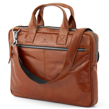 Tan Slim Zip Jasper Laptop Bag