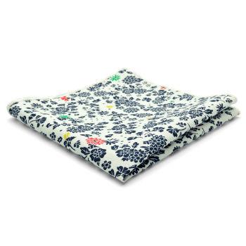 Pañuelo de bolsillo de algodón con diseño floral en blanco y azul