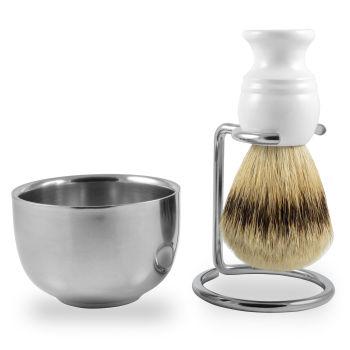 """Conjunto de Barbear Pincel Branco Pêlo de Texugo """"Silvertip"""""""