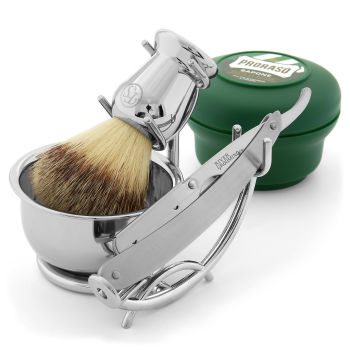 Conjunto de Barbear com Navalha e Lâminas Descartáveis