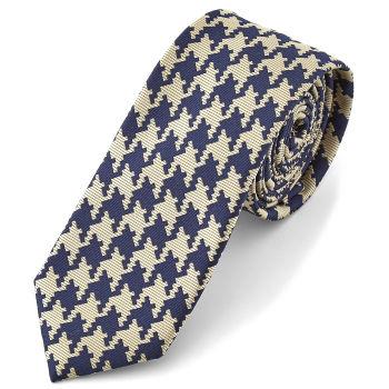 Corbata de mosaico azul y crema