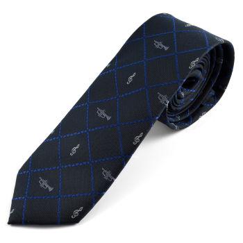 Corbata azul con diseño musical