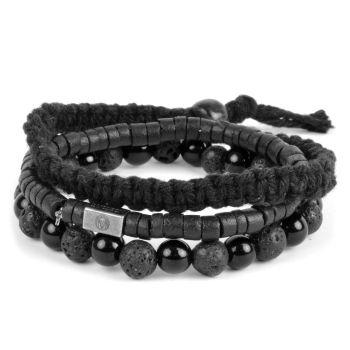 Conjunto de pulseras negro sobre negro