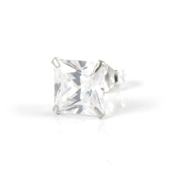 Square 8mm zirconia Stud Earring