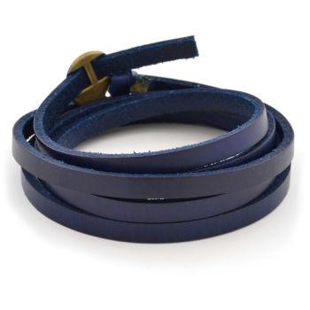 Állítható kék, csavart bőr karkötő