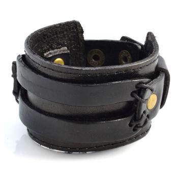 Pulsera ancha de cuero negro con dos tiras