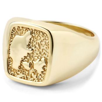 Pozłacany pierścień ze srebra 925s z motywem Danii