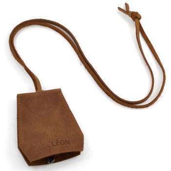 Collier porte-clef en cuir brut (marron clair)