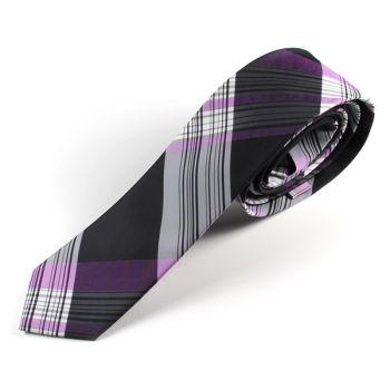 Corbata morada a cuadros