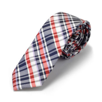 Corbata de seda roja a cuadros