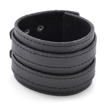 Черна кожена гривна с двойна закопчалка