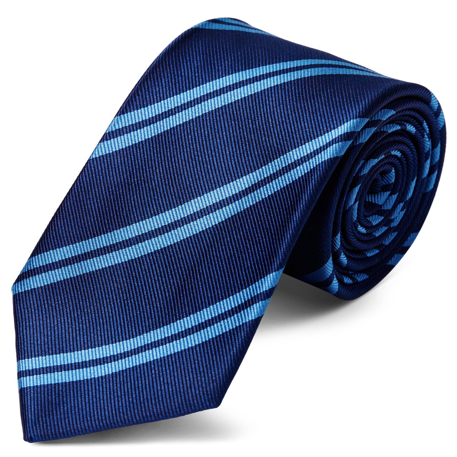 White Twin Stripe Navy Silk 8cm Necktie Trendhim uRsEstiEai