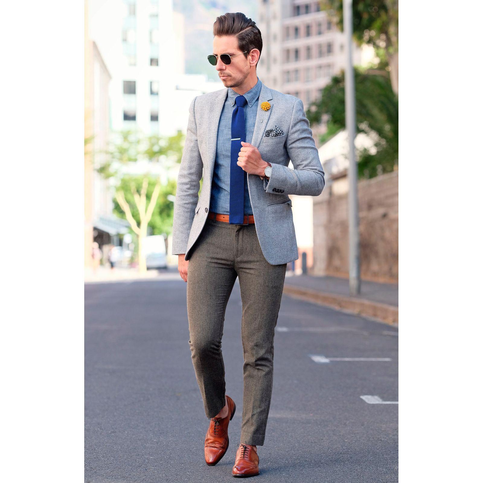 White & Blue Stripe Knitted Tie Trendhim x9zXSY8