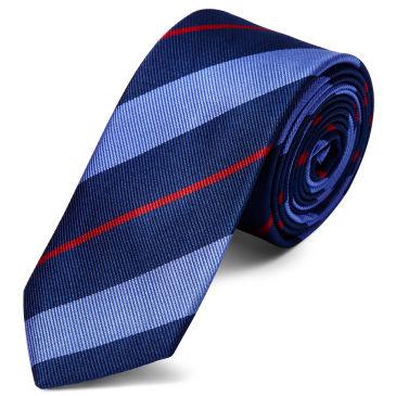 Red & Navy Stripe Silk 6cm Necktie Trendhim F8RznMXH