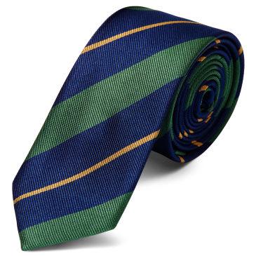 Marine Pastel Bande Bleue Et Or Soie Trendhim Cravate 6cm 1vzw821