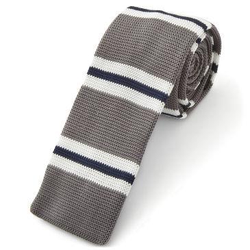 White & Blue Stripe Knitted Tie Trendhim FXLq6vv