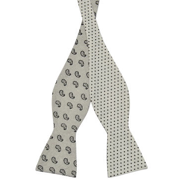 White Dotted Cotton Self Tie Reversible Bow Tie Trendhim Free Shipping Best Seller g6fJvL5hu