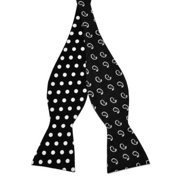 White Dotted Cotton Self Tie Reversible Bow Tie Trendhim K250g