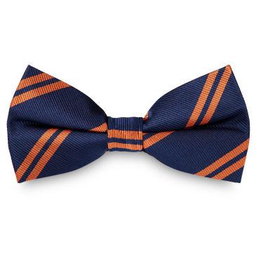 Orange Twin Stripe Navy Silk Self Tie Bow Tie Trendhim YI4g0m