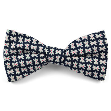 White & Blue Floral Design Cotton Self Tie Bow Tie Trendhim Nv79uE