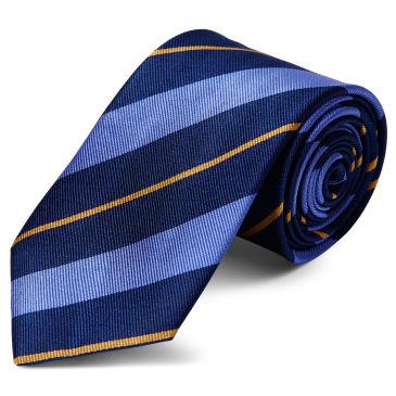 Navy Twin Stripe Gold Silk 8cm Necktie Trendhim Sop5L