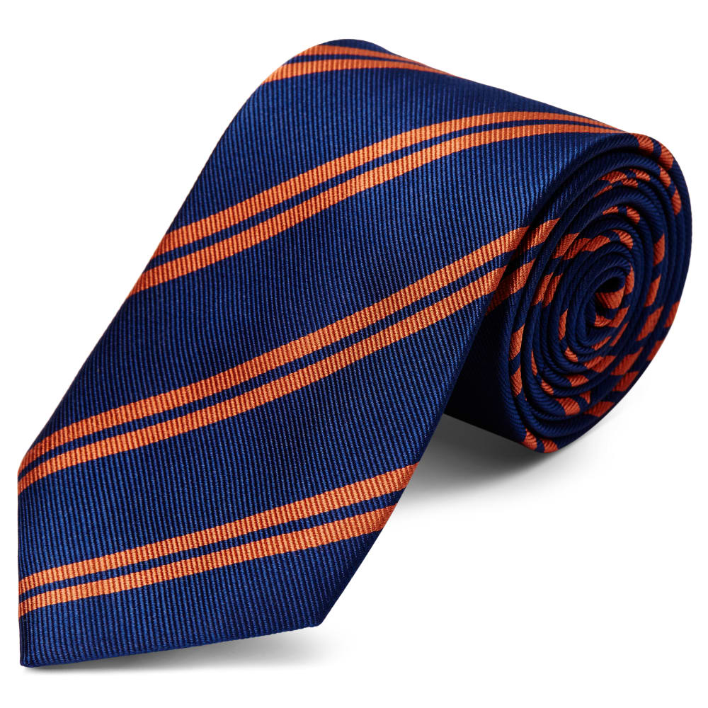 Bleu Cm Rayures Et 8 Cravate Soie Marine En Orange À zSUVMp