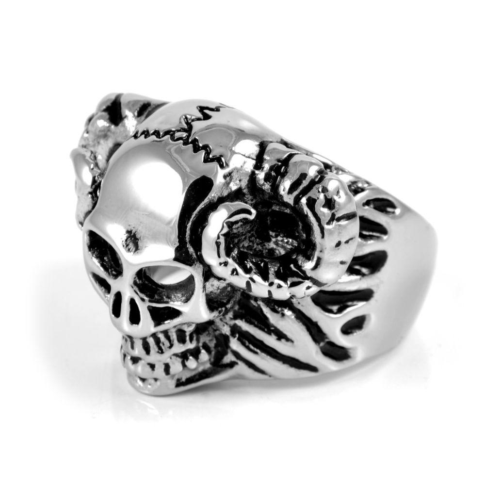 Ατσαλένιο Δαχτυλίδι XL Horned Skull  1b5730f3b17