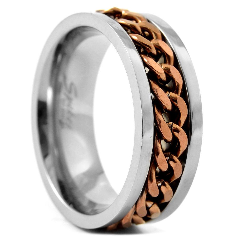 46d945897c24a Anillo de titanio cadena marrón