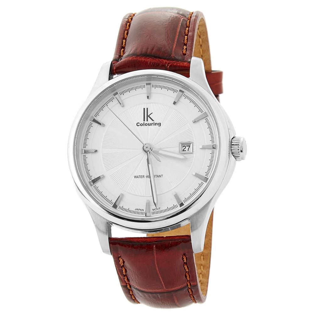Ρολόι Χειρός με Κόκκινο Δερμάτινο Λουράκι και Ασημί Αποχρώσεις ... 437cb8436bb