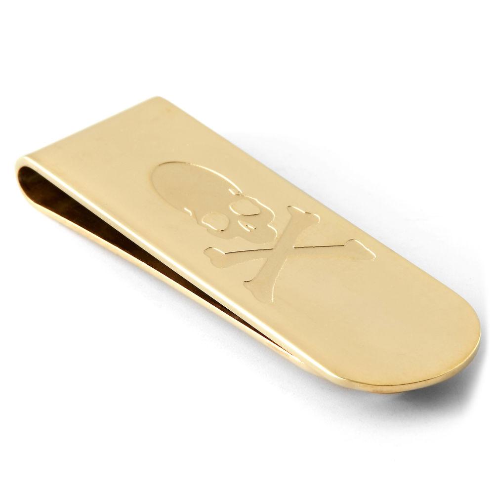Zlatá oceľová spona na peniaze Pirát  68f598696e6