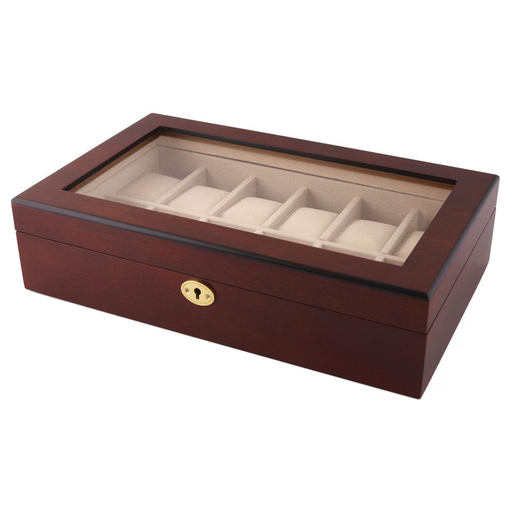 6e85561baad Caixa para Relógios em Madeira de Cerejeira e Fechadura Dourada - 12  relógios