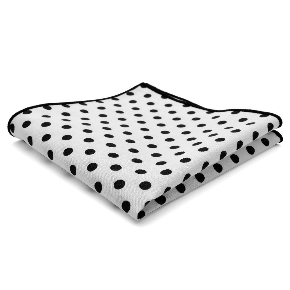 Λευκό Πουά Βαμβακερό Μαντήλι Τσέπης Τετράγωνο  5152f7669c4